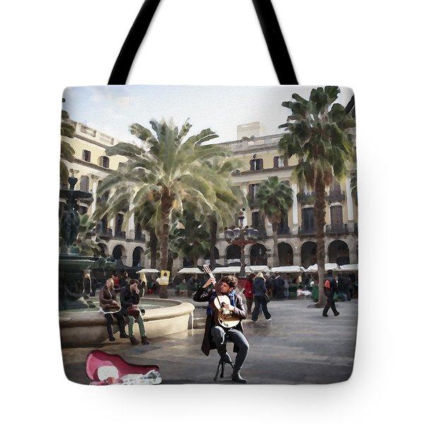 Street Music. Guitar. Barcelona, Plaza Real. Tote Bag