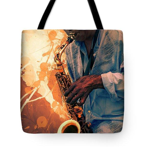 Street Sax Player Tote Bag