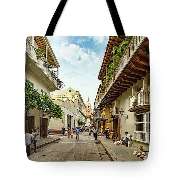Street Scene In Old Town With Santa Tote Bag