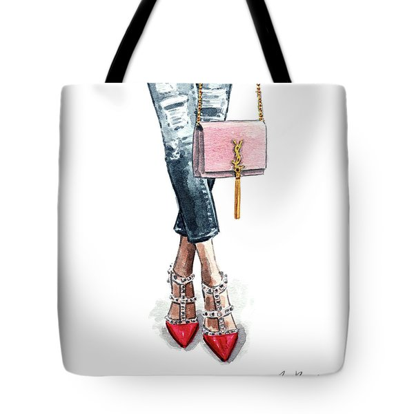 Street Style Ootd Valentino And Ysl Tote Bag