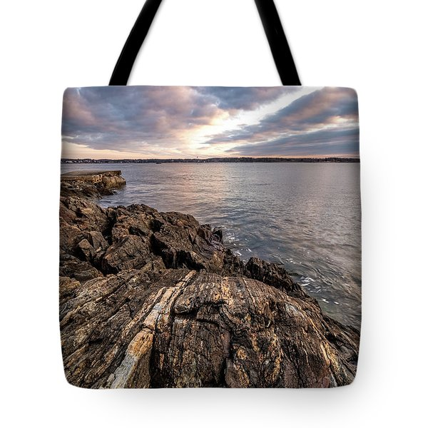 Striations. Leading Lines In The Rocks Tote Bag