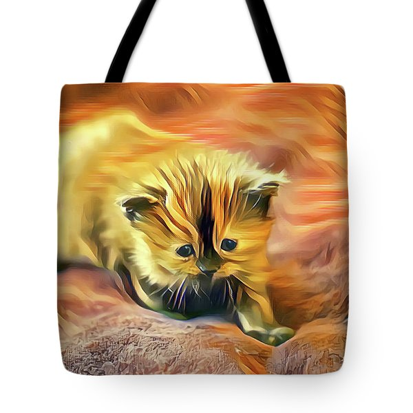 Striped Forehead Kitten Tote Bag