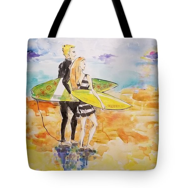 Surfer Couple Tote Bag