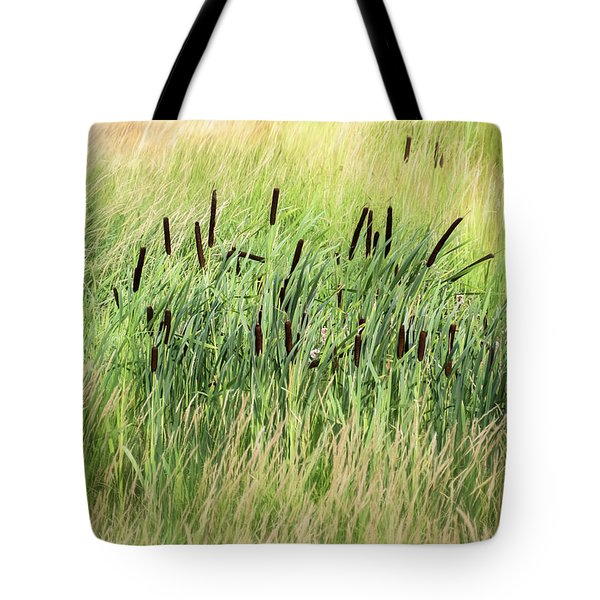 Summer Cattails In Field Of Grass - Tote Bag