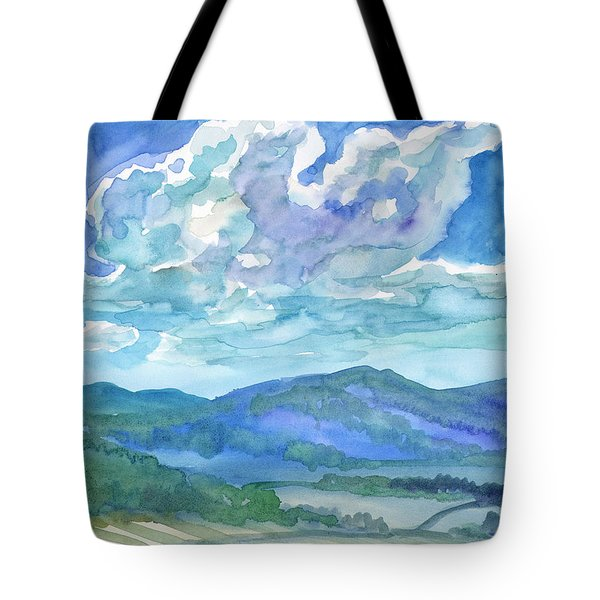 Tote Bag featuring the painting Summer Clouds Landscape  by Dobrotsvet Art