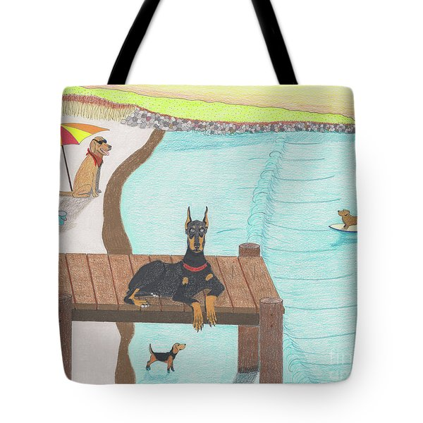 Tote Bag featuring the drawing Summertime Fun by John Wiegand