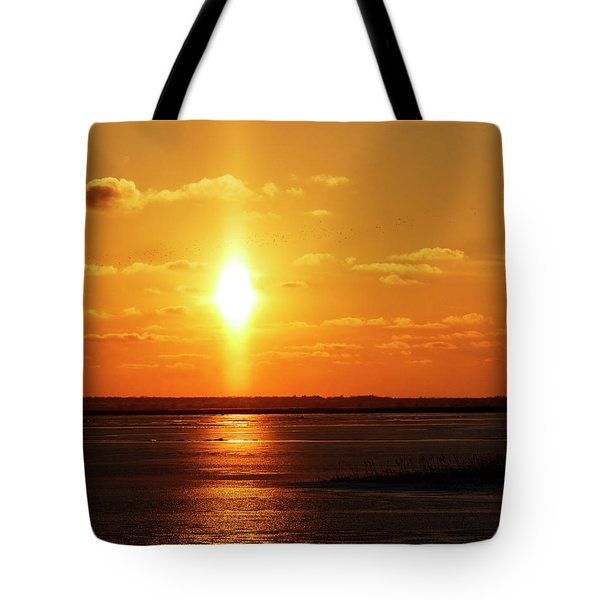 Tote Bag featuring the photograph Sun Pillar 01 by Rob Graham
