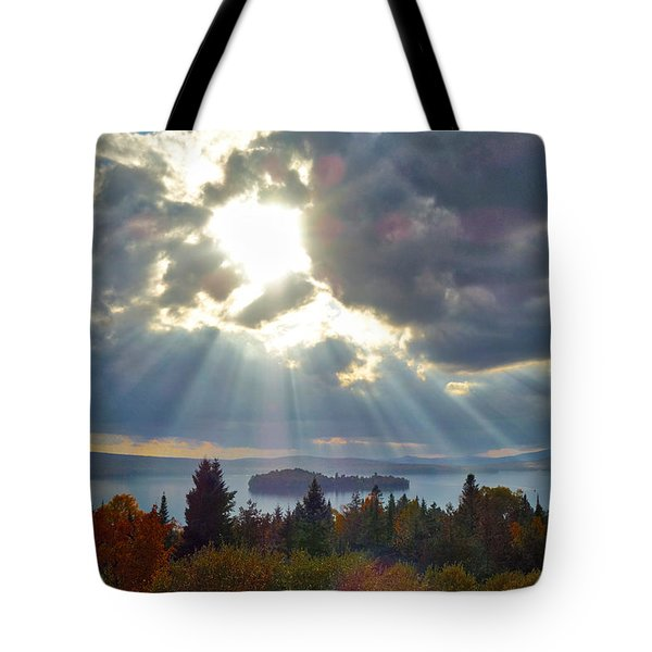Sun Rays Over Rangeley Lake Tote Bag