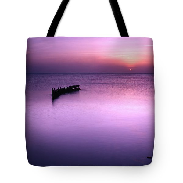 Sun Sets On A Sunken Boat Tote Bag
