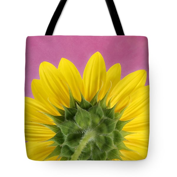 Tote Bag featuring the photograph Sunflower On Pink - Botanical Art By Debi Dalio by Debi Dalio