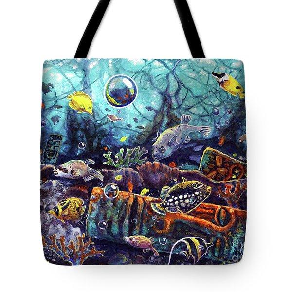 Sunken Tiki Reef Tote Bag