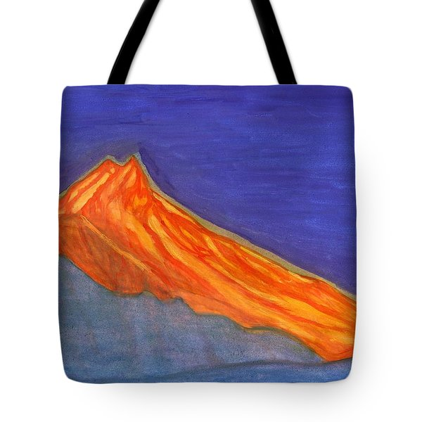 Tote Bag featuring the painting Sunny Mountain Peak by Dobrotsvet Art
