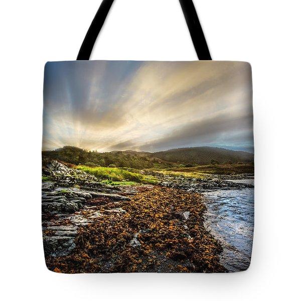 Sunrays At Dawn Along The Coast Tote Bag