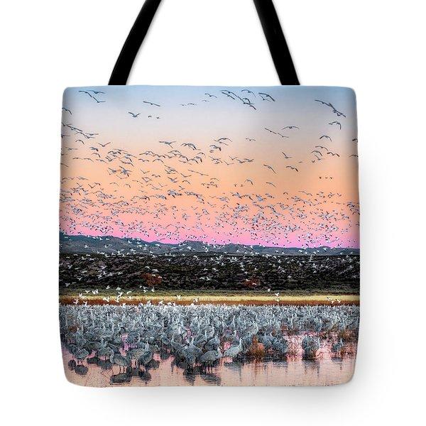 Sunrise At The Crane Pool Tote Bag
