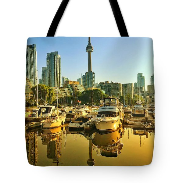 Sunrise At The Harbour Tote Bag