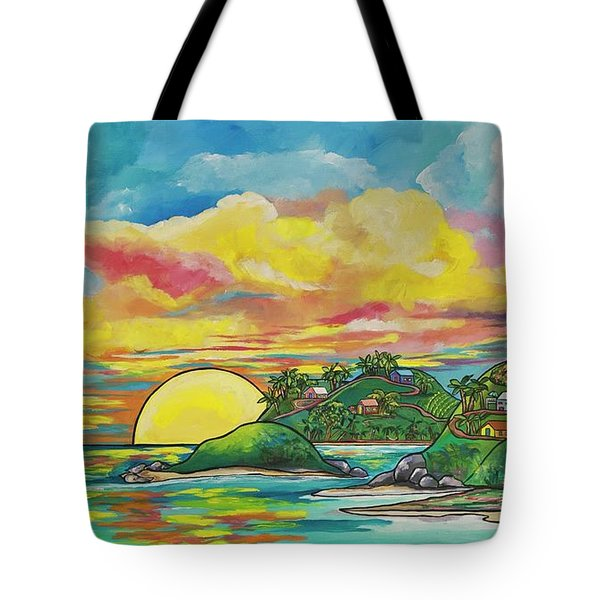 Sunrise At The Islands Tote Bag