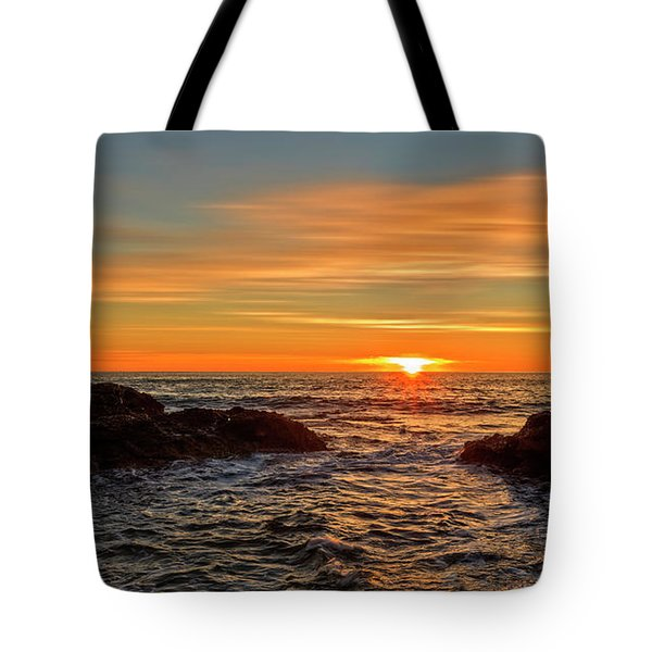 Sunrise By The Mediterranean Sea In Oropesa, Castellon Tote Bag