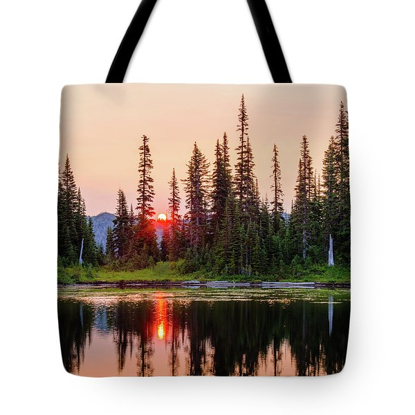 Sunrise From The Reflection Lake Tote Bag