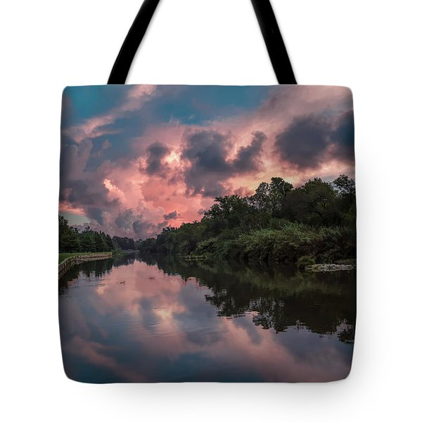 Sunrise On The River Tote Bag