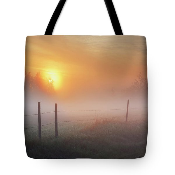 Sunrise Over Morning Pasture Tote Bag