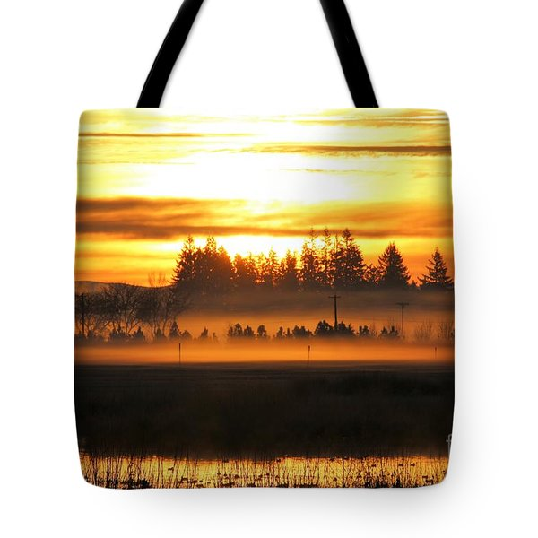 Sunrise Over The Wetlands Tote Bag