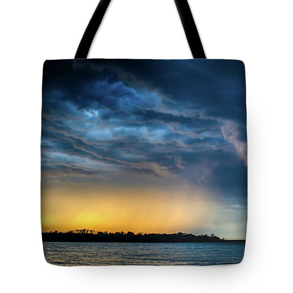 Tote Bag featuring the photograph Sunrise Storm Pano by Jeff Phillippi