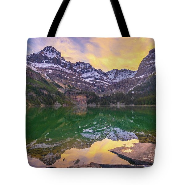 Sunrise Wiwaxy Peaks And Mount Huber Above Lake Ohara Tote Bag