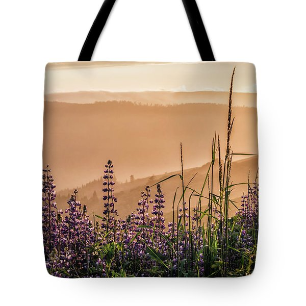Tote Bag featuring the photograph Sunset Among The Lupine by Laura Roberts