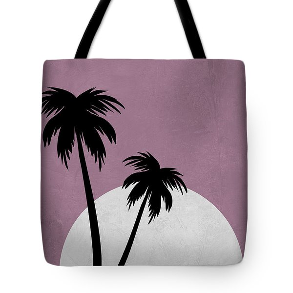 Sunset And Beach Palm Trees Tote Bag