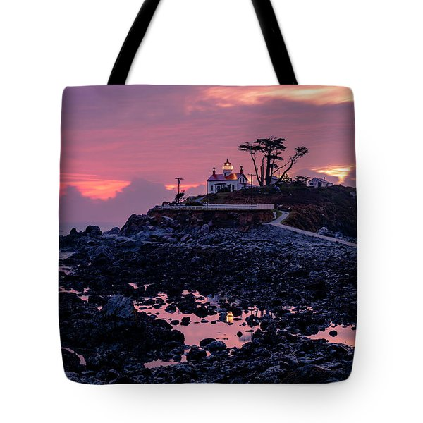 Sunset And Low Tide At Battery Point Tote Bag