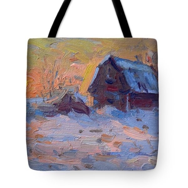 Sunset And Snow In The Farm  Tote Bag