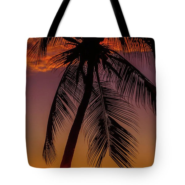 Sunset At The Palm Tote Bag