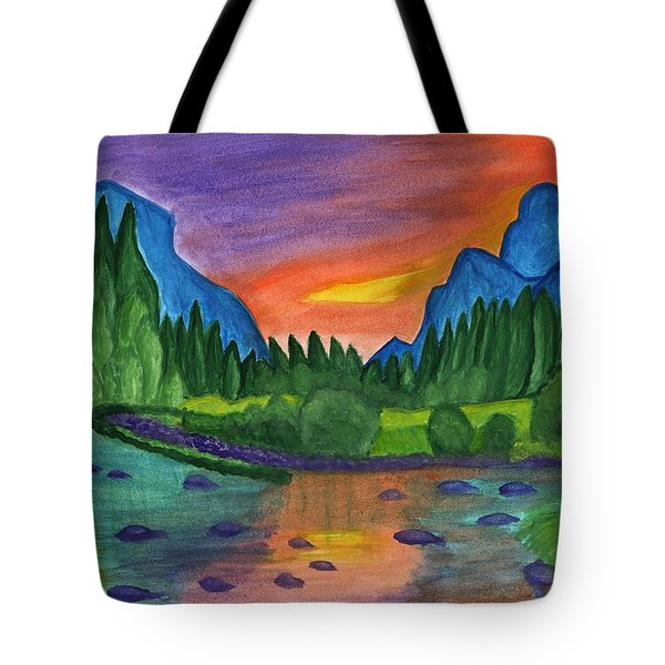 Mountain River In The Background Of The Forest And The Blue Mountains At Sunset Tote Bag