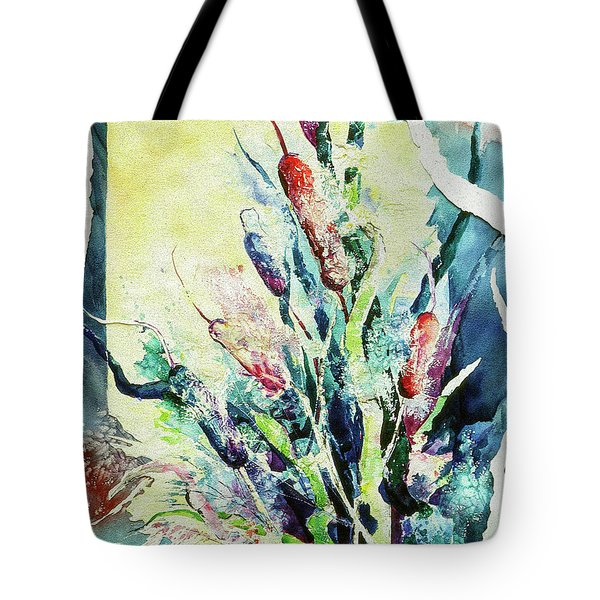 Sunset Cattails Tote Bag