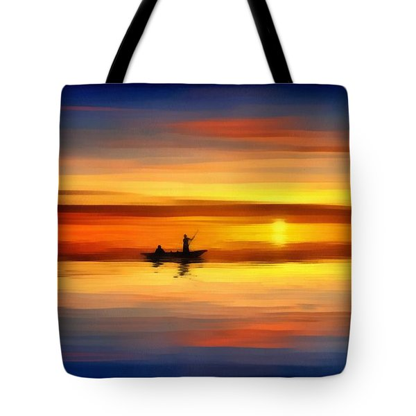 Tote Bag featuring the painting Sunset Fishing by Harry Warrick