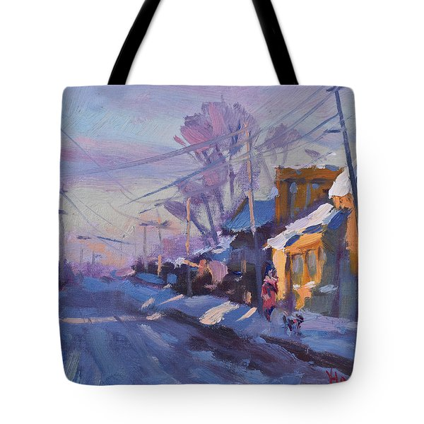 Sunset In A Snowy Street Tote Bag