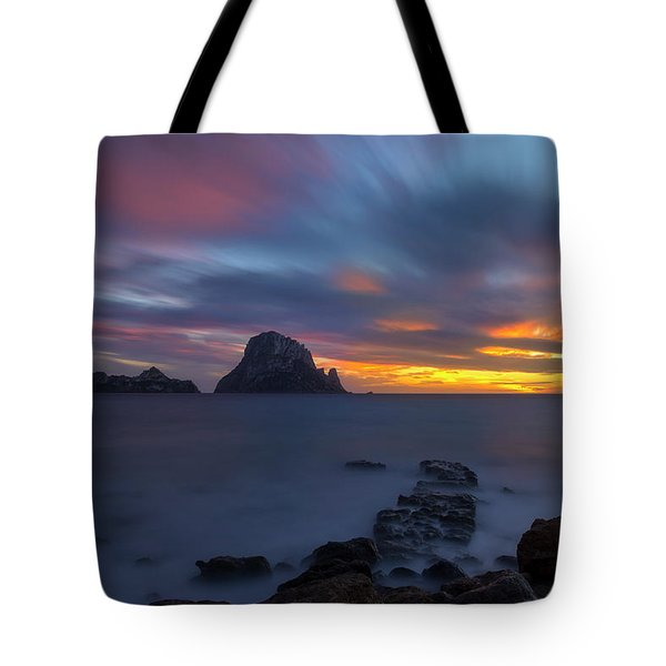 Sunset In The Mediterranean Sea With The Island Of Es Vedra Tote Bag