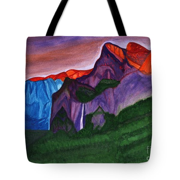 Snowy Peaks Of The Mountains With A Waterfall Lit Up By The Orange Dawn Tote Bag