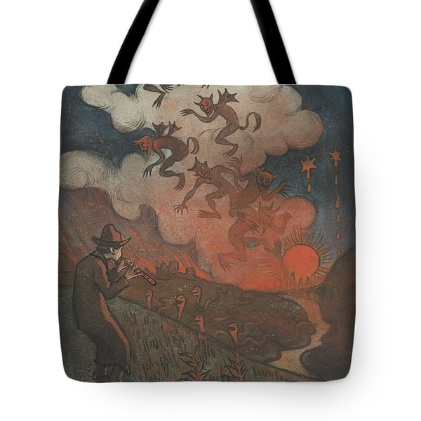 Tote Bag featuring the drawing Sunset by Ivar Arosenius