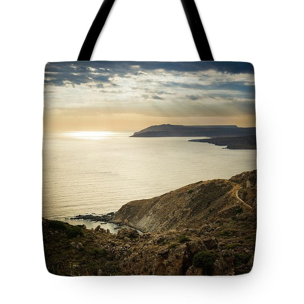 Tote Bag featuring the photograph Sunset Near Tainaron Cape by Milan Ljubisavljevic