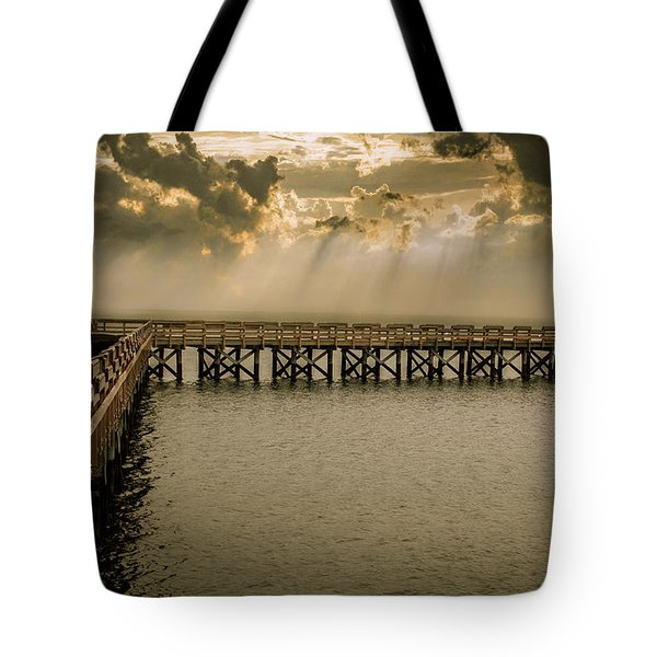 Sunset On Pier Tote Bag