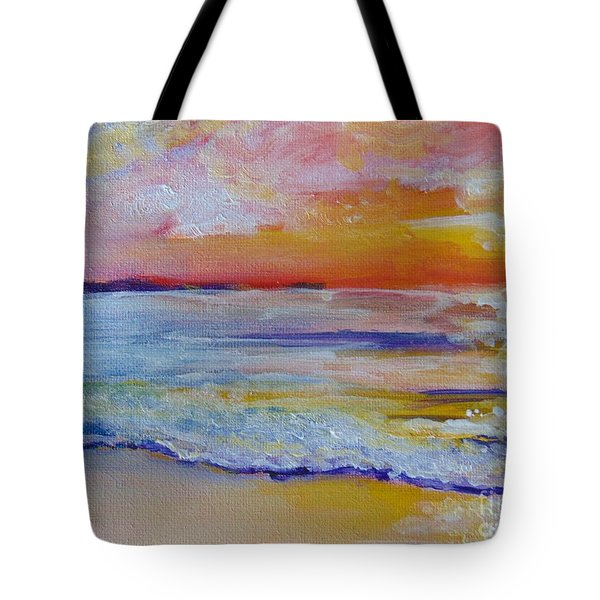 Tote Bag featuring the painting Sunset On The Gulf by Saundra Johnson