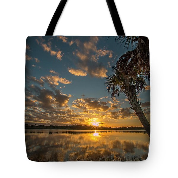 Tote Bag featuring the photograph Sunset On The Pond by Tom Claud