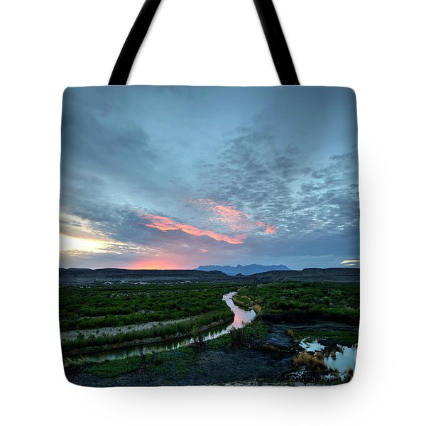Tote Bag featuring the photograph Sunset On The Rio Grande by Joe Sparks