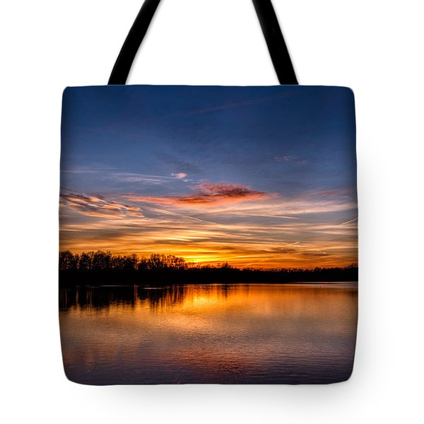 Tote Bag featuring the photograph Sunset Over Laupheim Quarry by Bernd Laeschke