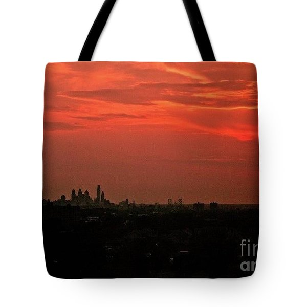 Sunset Over Philly Tote Bag