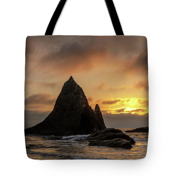 Sunset Over Picturesque Martin's Beach Near Half Moon Bay. Tote Bag