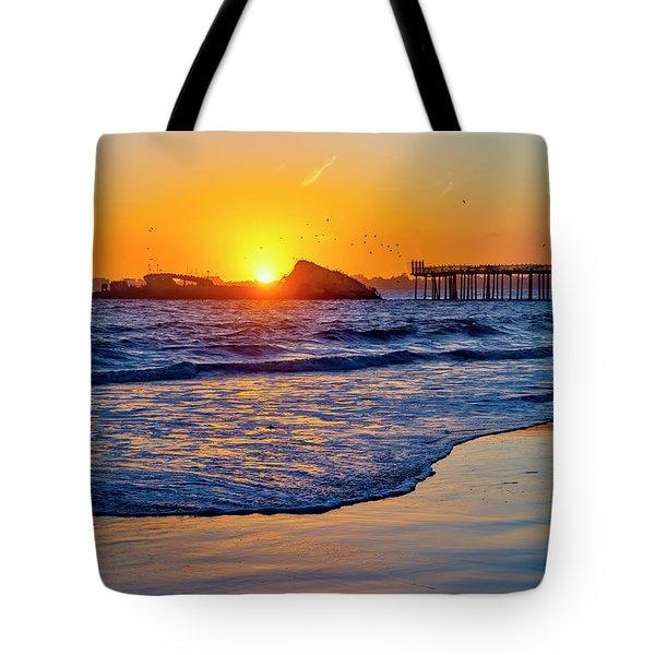 Sunset Over Sunken Ship Tote Bag
