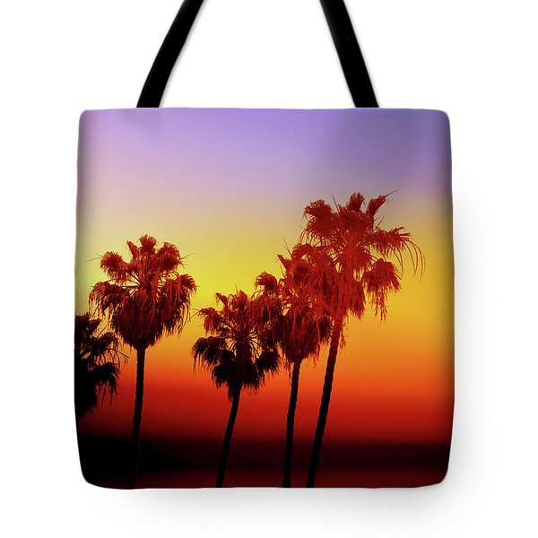 Sunset Palm Trees- Art By Linda Woods Tote Bag