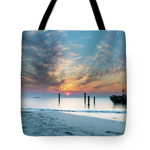 Sunset Seascape And Beautiful Clouds Tote Bag